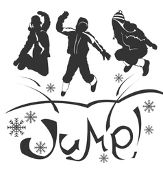 Siluetu jump vector image