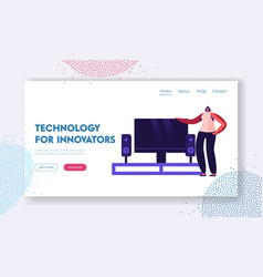 Smart tv technologies website landing page woman vector