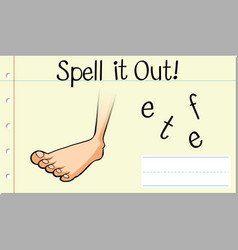 Spell english word feet vector