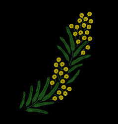 Spring beautiful stylised ornate blossoming mimosa vector