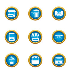 Street stall icons set flat style vector