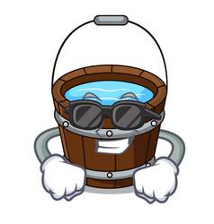 super cool wooden bucket character cartoon vector image