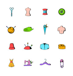 tailor elements icons set cartoon vector image