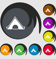 The tent icon sign Symbols on eight colored vector