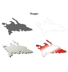 Thurgau blank detailed outline map set vector image