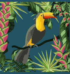 toucan with natural leaves plants background vector image
