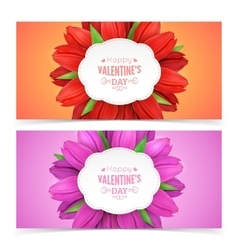 Tulip flowers and text vector image