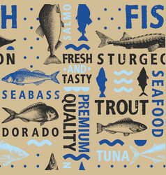 typographic fish seamless pattern on light vector image