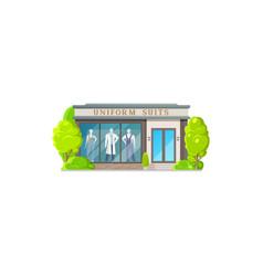 Uniform suits shop facade exterior isolated store vector