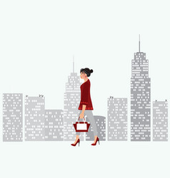 woman walking in the city vector image