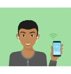 Young guy is listening to music via bluetooth vector image