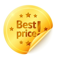 Best price isolated golden sticker vector