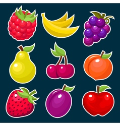 Colorful Yummy Fruit Icons vector image vector image