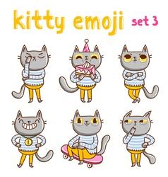Kitty emoji set 3 vector image vector image