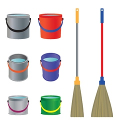 Mops and buckets vector