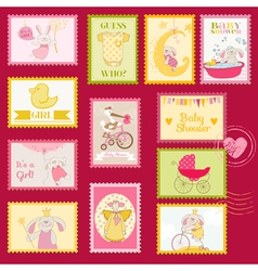 Baby Shower or Arrival Postage Stamps vector image vector image