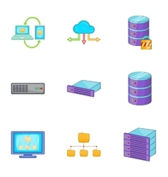Datacenter icons set cartoon style vector image