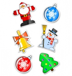 set sticker for Christmas vector image vector image