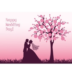 Silhouettes of the bride and groom vector image vector image