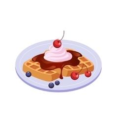 Sweet Waffle Breakfast Food Element Isolated Icon vector image vector image