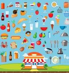 Food icon set flat design vector image vector image