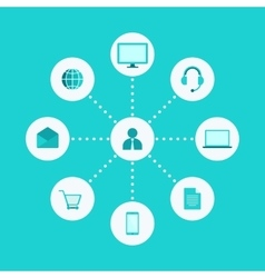 Omni Multi Channel E-Commerce Digital Marketing vector image vector image