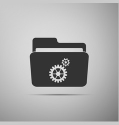 settings folder icon isolated on grey background vector image vector image