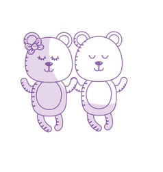 Silhouette cute animal couple bear together vector