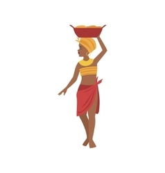 Woman With Basin On Head From African Native Tribe vector image