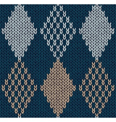 Blue Color Knitted Ornament vector image vector image