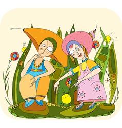 children play grass vector image