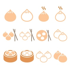 Chinese dumplings Asian food Dim Sum icons vector image
