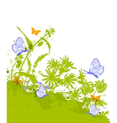 Green decorative floral background vector image