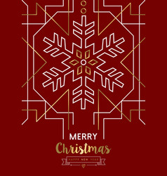 merry christmas new year snowflake gold deco retro vector image vector image