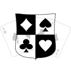 stencil of shield with card suits vector image