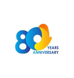 80 years anniversary celebration blue yellow vector