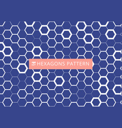 abstract white hexagonal pattern on blue vector image