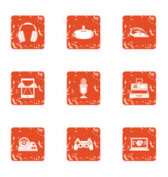 actual icons set grunge style vector image
