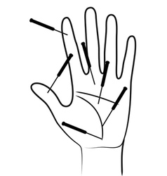 Acupunctured hand vector
