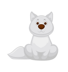 Adorable white fox baby with big brown nose vector