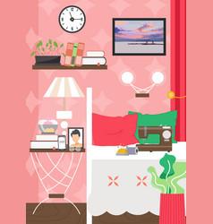 Adult female living room interior flat vector