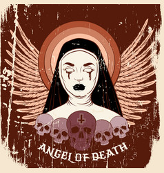 Angel death colorful blind nun with human vector