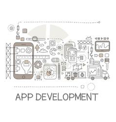 App Development Process Elements Creative Sketch vector