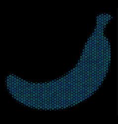 banana composition icon of halftone bubbles vector image