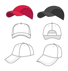 Baseball tennis cap outlined template vector image
