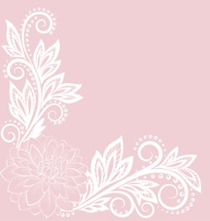 Beautiful lace flower in corner vector