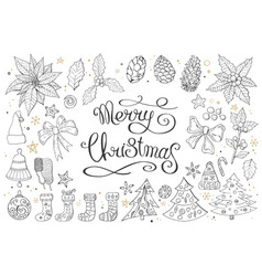 big set with vintage christmas decoration vector image