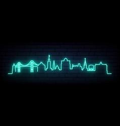 blue neon skyline newport bright newport city vector image