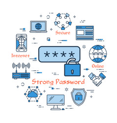 Blue round strong password concept vector