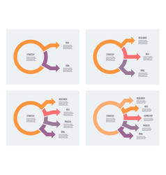business infographic circular chart with 2 3 4 vector image